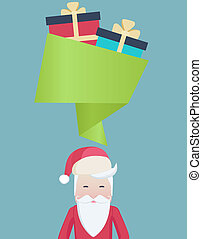 Cute Santa with a speech bubble and gifts