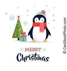 cute, -, saudação, feliz natal, cartão, pingüim