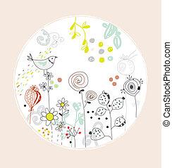 cute, -, saudação, flores, desenho, círculo, pássaro, cartão
