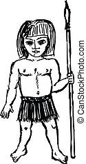 Cute savage - hand drawn, sketch illustration of savage