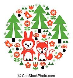 Cute Scandinavian round folk art pattern - Finnish inspired,...