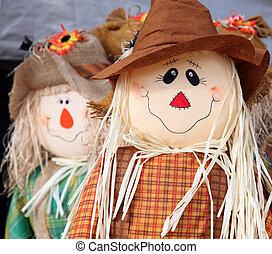 Cute scarecrow figurine used to celebrate the fall