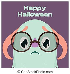 Cute scared little monster with glasses Halloween greeting