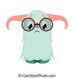 Cute scared little monster with glasses