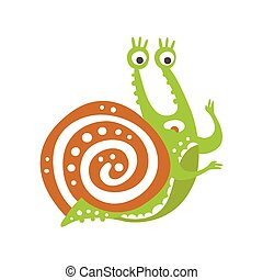 Cute scared snail character, funny mollusk colorful hand drawn vector Illustration
