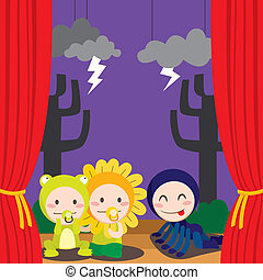 Cute Scary Theater - Three children in costumes performing a...