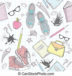 Cute school abstract pattern. Seamless pattern with shoes,...