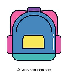 cute school bag, line and fill style icon