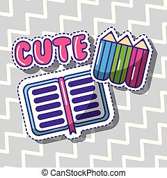 cute school book and crayons color beauty
