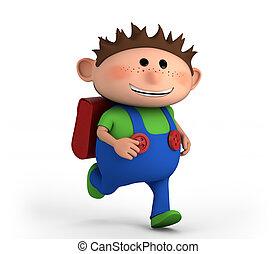 school boy running - cute school boy running - high quality...
