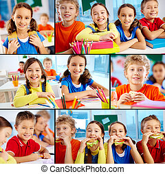 Cute school friends - Collage of diligent schoolchildren in ...
