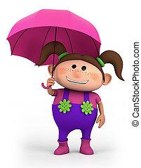 girl with umbrella - cute school girl with umbrella - high...