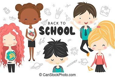 Cute school kids with backpacks, globe and book.Happy kids cartoon collection. Multicultural children in different positions isolated on white background. Back to school.