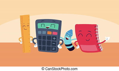 cute school supplies kawaii comic characters animation ,4k video animated