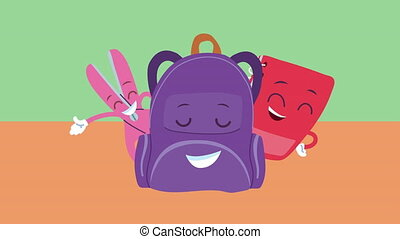 cute schoolbag and supplies kawaii comic characters animation ,4k video animated