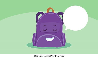 cute schoolbag supply kawaii comic character animation ,4k video animated