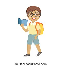 Cute schoolboy wearing glasses carrying backpack and holding blue book, a colorful character isolated on a white background