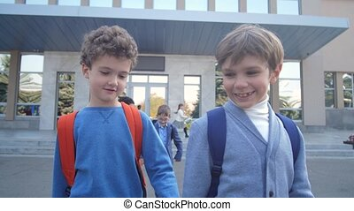 Cute schoolboys talking while walking from school