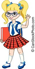 Cute schoolgirl with color books