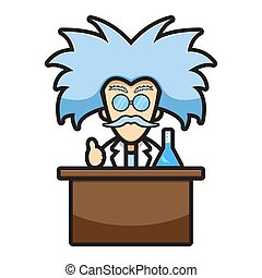 Cute scientist character experiment chemical cartoon vector icon illustration