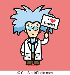 Cute scientist character love science cartoon vector icon illustration