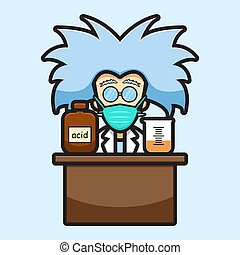 Cute scientist character wearing mask experiment dangerous chemical cartoon vector icon illustration