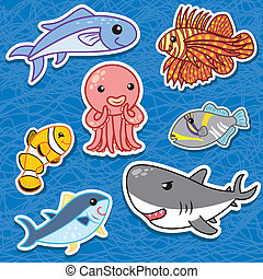 cute sea animal stickers3 - cute sea animal stickers