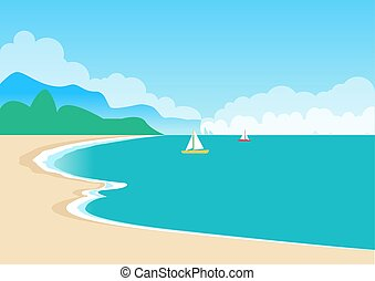 Cute Sea Coast, Color Banner, Vector Illustration