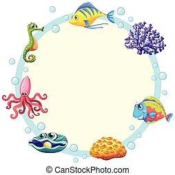 Cute sea creature border illustration