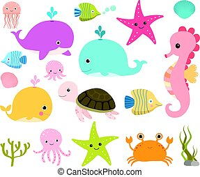 Cute sea creatures for scrapbooking, baby showers and summer designs