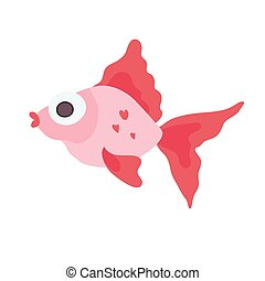 Cute sea fish. Vector illustration, isolated on white.