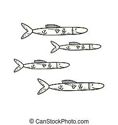 cute sea fishes icon