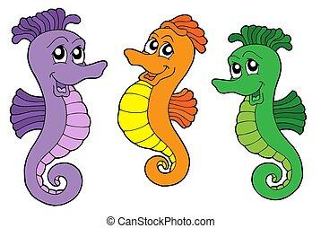 Cute sea horses - isolated illustration.