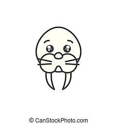 cute sea lion animal line style icon