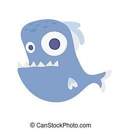 Cute sea toothy fish. Vector illustration, isolated on white.