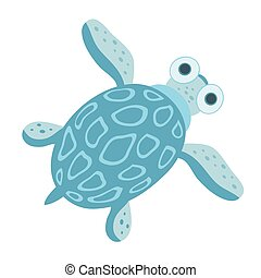 Cute sea turtle. Vector illustration, isolated on white background.