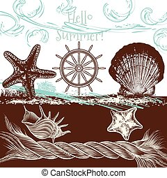 Cute sea vector illustration hello summer.eps