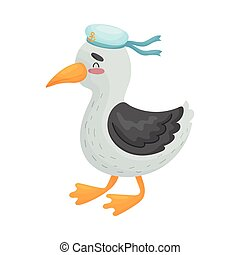 Cute seagull sailor. Vector illustration on white background.