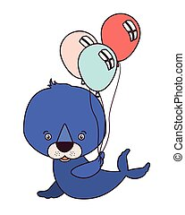 cute seal animal with balloons helium
