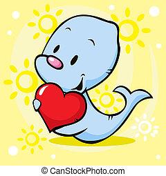 cute seal holding heart - cartoon illustration