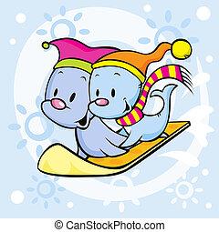 cute seal on snowboard - funny cartoon illustration