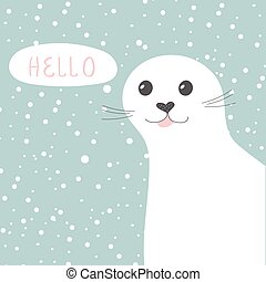 Cute seal. Vector illustration of cartoon