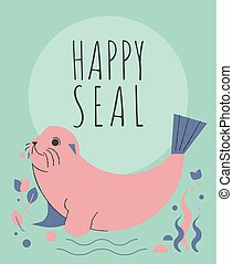 Cute seal with flowers and plants greeting card