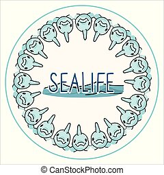 Cute sealife dolphin badge cartoon vector illustration motif set. Hand drawn isolated underwater fauna, porpoise button elements clipart for ocean blog, aquatic graphic, blue web buttons.