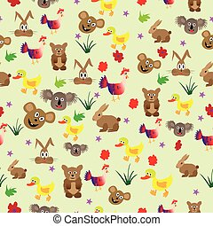 Cute seamless background with animals for children