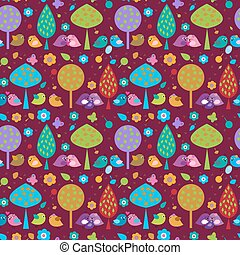 Cute seamless decorative background with birds in the forest