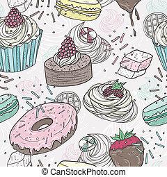 cute, seamless, doces, padrão