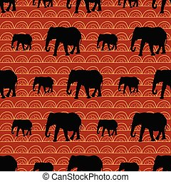 Cute seamless elephants pattern with geometric sunset background.