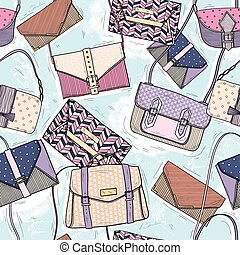 Cute seamless fashion pattern for girls or woman. Background with bags and purses.