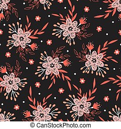 Cute Seamless Floral Pattern on black background.
